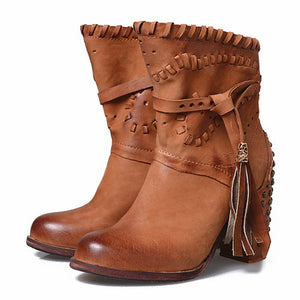 High Quality British Style Super High Heel Woman Martin Boots Real Leather - LiveTrendsX