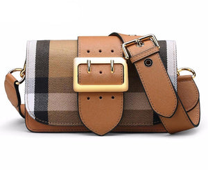 Fashion Genuine Leather Female Grid Shoulder Bag Newest Cow Leather Women Bag High Quality Crossbody Bag Ladies Bag - LiveTrendsX