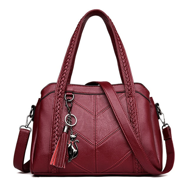 Women Handbag Genuine Leather Tote Bags Tassel Luxury Women Shoulder Bags Ladies Leather Handbags Women Fashion Bags 2018 - LiveTrendsX