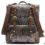 Hand rubbing leather backpack casual men and women first layer of leather embossed personality retro backpacks - LiveTrendsX