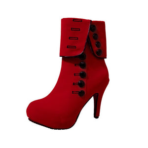 Fashion Women Ankle Boots High Heels Fashion Red Shoes Woman Platform Flock Buckle Boots Ladies Shoes Female PLUE 42 - LiveTrendsX
