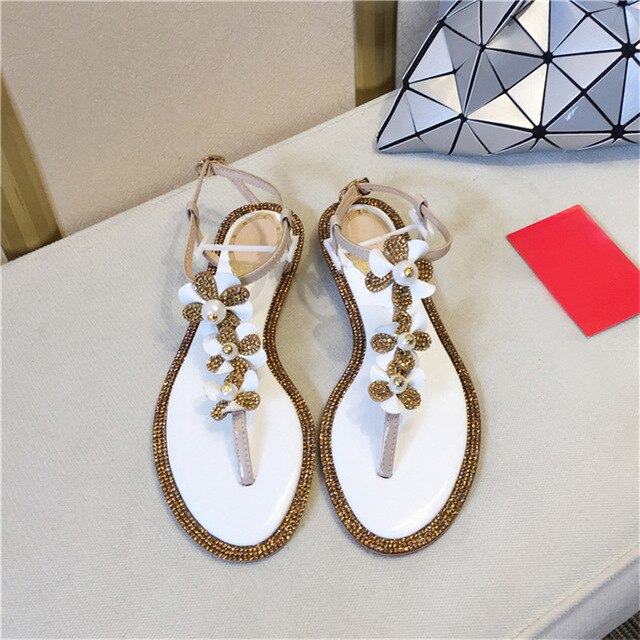 Woman Luxury Crystal Flower Pearl Embellished Flat Blingbling Glitter Sandals Summer Beach Shoes Women Thong Sandals Flip-flops - LiveTrendsX