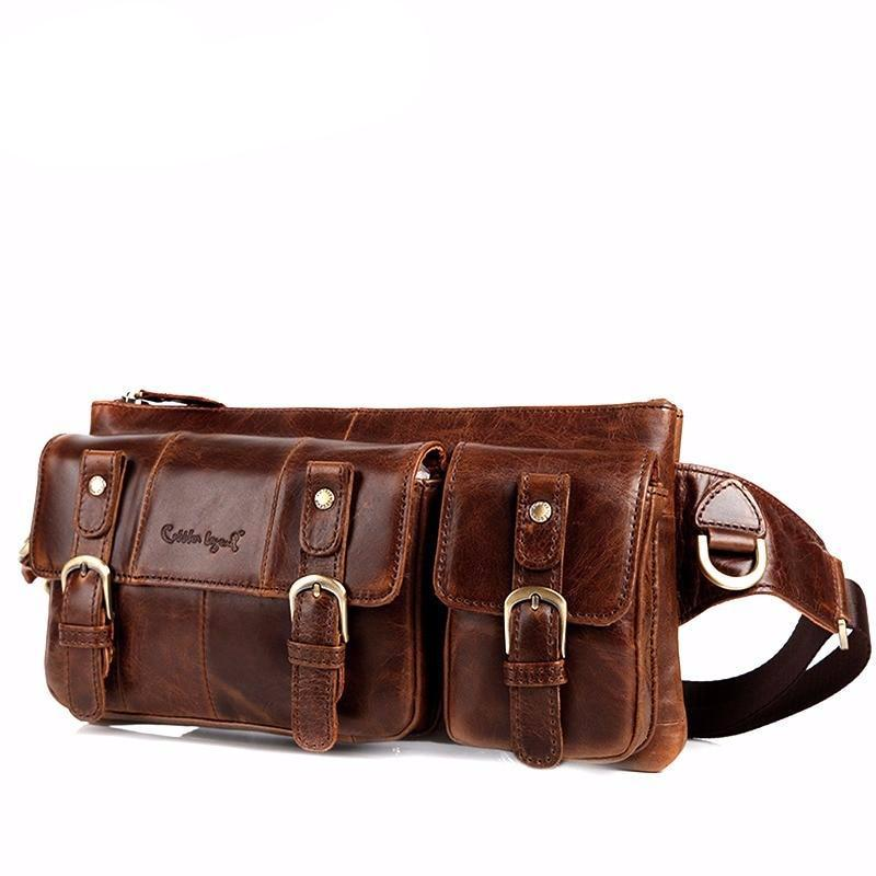 Genuine Leather Waist Packs Fanny Pack Bag Travel Waist Pack Male Small Waist Bag Leather Pouch Phone Pouch Bags - LiveTrendsX