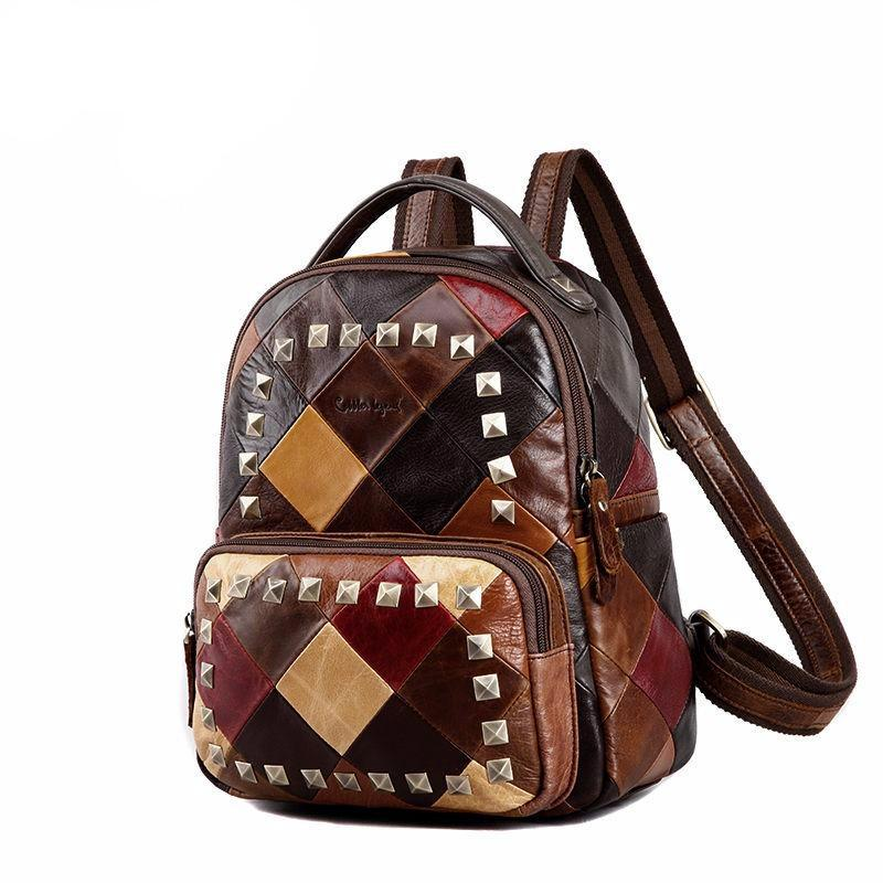 Women Backpack Female Genuine Leather Backpacks for Girls Small Backpack schoolbag Rivet Colorful Travel - LiveTrendsX