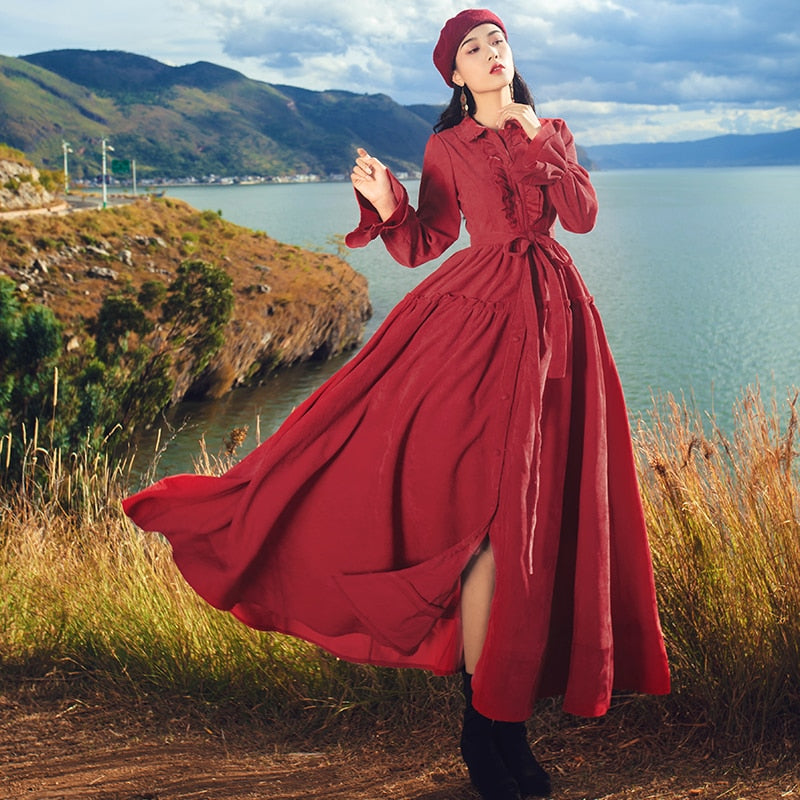 Vintage Red Corduroy A-line Maxi Long Shirt Dress Fall Winter Women Ruffle Collar Retro Medieval Big Swing Dress Robe with Belt