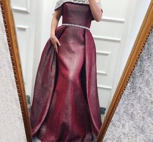DuBai Design Off Shoulder Luxury Evening Dresses Wine Red Sequined Beading Evening Gowns For Women Real Photo