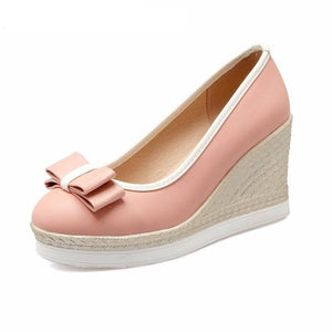 Fashion 3 colors women pumps wedges bowtie women shoes zapatos mujer height increasing causal shoes - LiveTrendsX