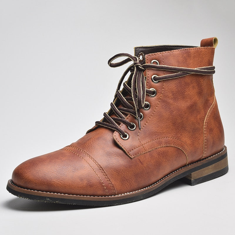 Men Fashion Lace-up Ankle Boots High Quality Men British Boot Autumn Winter - LiveTrendsX