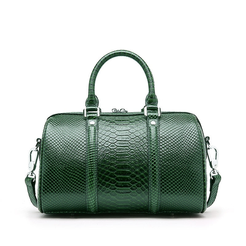 Genuine Leather Women Handbag Luxury Snake Real Cow Leather Boston Bag High Quality Shoulder Bag Lady Green Serpentine Tote Bag - LiveTrendsX