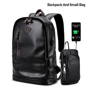 Men Backpack External USB Charge Waterproof  Backpack Fashion PU Leather Travel Bag Casual School Bag leather bookbag - LiveTrendsX
