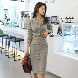 Ladies Casual Knitted Suit 2019 New Spring Fashion Women 2 Piece Set Round Neck Sweater Tops Sheath Split Dress Knit 2 Piece Set - LiveTrendsX