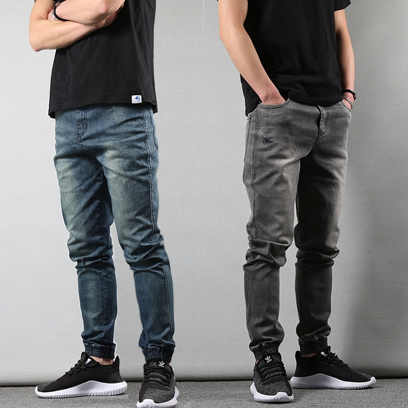 Japanese Style Fashion Mens Jeans Gray Color Slim Fit Tapered Trousers Hip Hop Jogger Jeans Men Vintage Design Denim Cargo Pants - LiveTrendsX