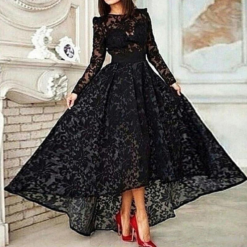 Black Muslim Evening Dresses  A-line Long Sleeves Tea Length Lace Islamic Dubai Saudi Arabic Long Elegant Evening Gown - LiveTrendsX