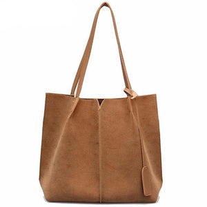 High Quality Women Suede Handbags Soft Leather Women Bag  2PCS Handbags Set Female Shoulder Bags Large Casual Tote Bags - LiveTrendsX