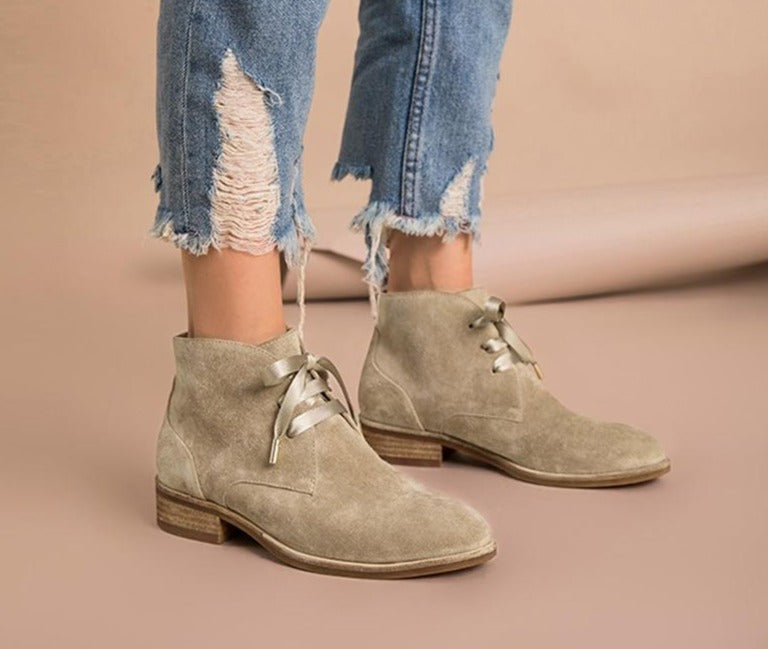 Women Ankle Boots Genuine Leather Cow Suede Ribbon Lace-Up Boots Brand Lady Shoes High Quality - LiveTrendsX
