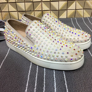 Colorful Low Top Rivets Studded Women Loafers Runway Slip On Round Gladiator Shoes Pink Genuine Leather Casual Shoes Flats