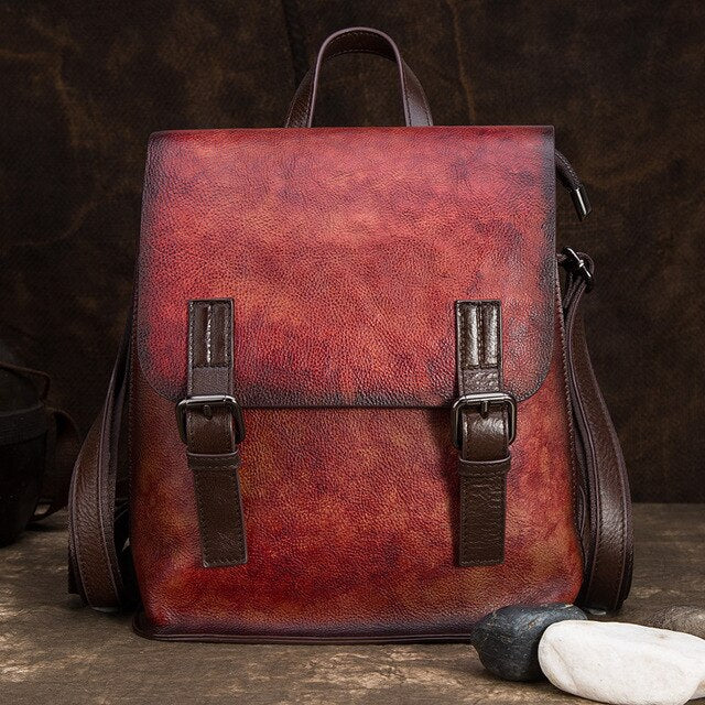 High Quality Natural Skin Daypack Knapsack Vintage Travel Bag Brush Color Genuine Leather Women Backpack Girls School Rucksack - LiveTrendsX