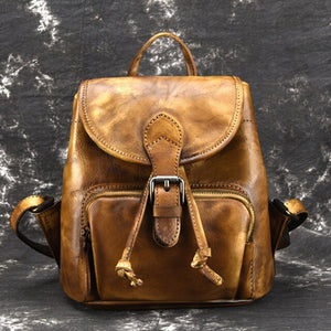 High Quality Real Cowhide Rucksack School Daypack Brush Color Knapsack Travel Bag Female Vintage Genuine Leather Women Backpack - LiveTrendsX