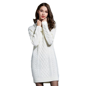 3XL 4XL Plus Size Knitted Long Sleeve Turtleneck Women Casual Sweater Dresses Autumn Winter Trendy Lady Pullovers Sweater - LiveTrendsX