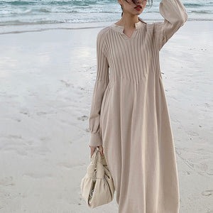 Retro french girl chic knitting v-neck long sleeve basic dress mori girl 2019 spring - LiveTrendsX
