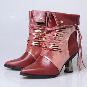 Fashion Handmade Patchwork Ankle Boots Women Pointed Toe Tassels High Heel Short Boots Female Fringed Martin Boot - LiveTrendsX