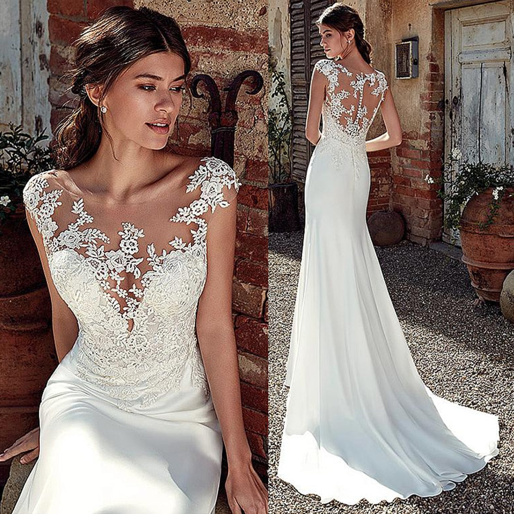 Modest Soft Satin Bateau Neckline Mermaid Wedding Dresses With Lace Appliques Sheer Bridal Dress Illusion Back - LiveTrendsX