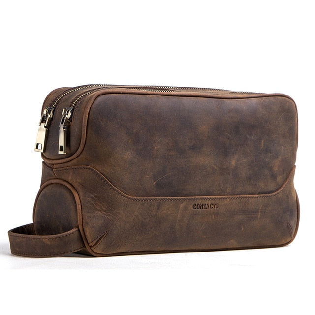 crazy horse cow leather cosmetic bag for men travel toiletry bag large capacity wash bags man's make up bags organizer - LiveTrendsX