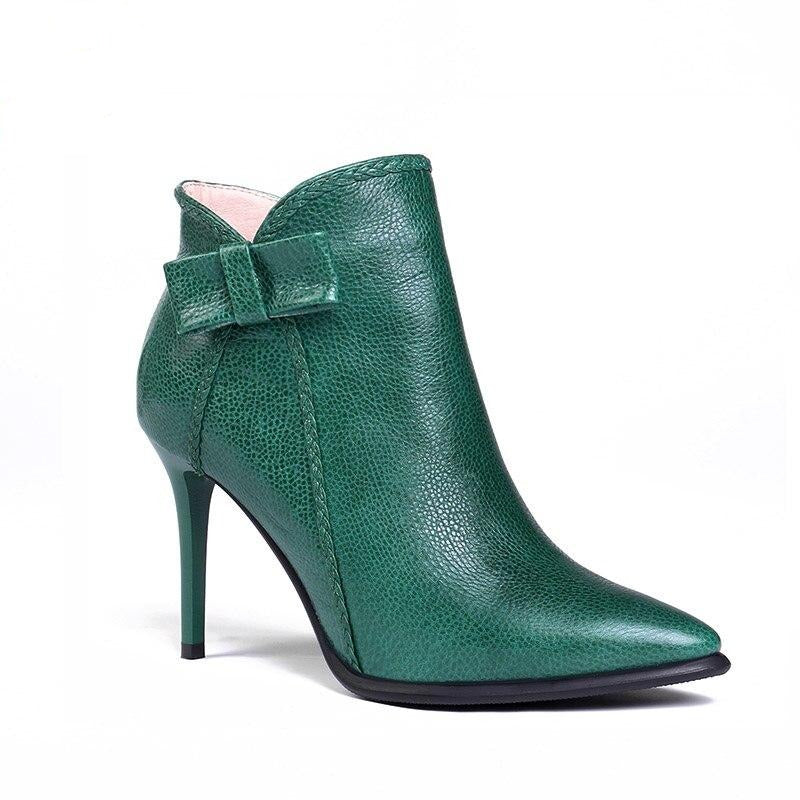 nature leather stiletto boots women pointed toe high heels 8cm butterfly knot ankle boots green ladies shoes - LiveTrendsX