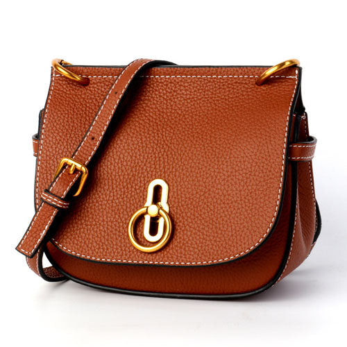 Women's new leather shoulder high quality metal buckle saddle bag Korean men's leather layer high quality metal buckle saddle ba - LiveTrendsX