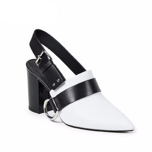 Genuine Leather High Heels Sandals Women 2019 New Fashion Summer Office Female Shoes Pointed Toe Metal Decoration Footwear - LiveTrendsX