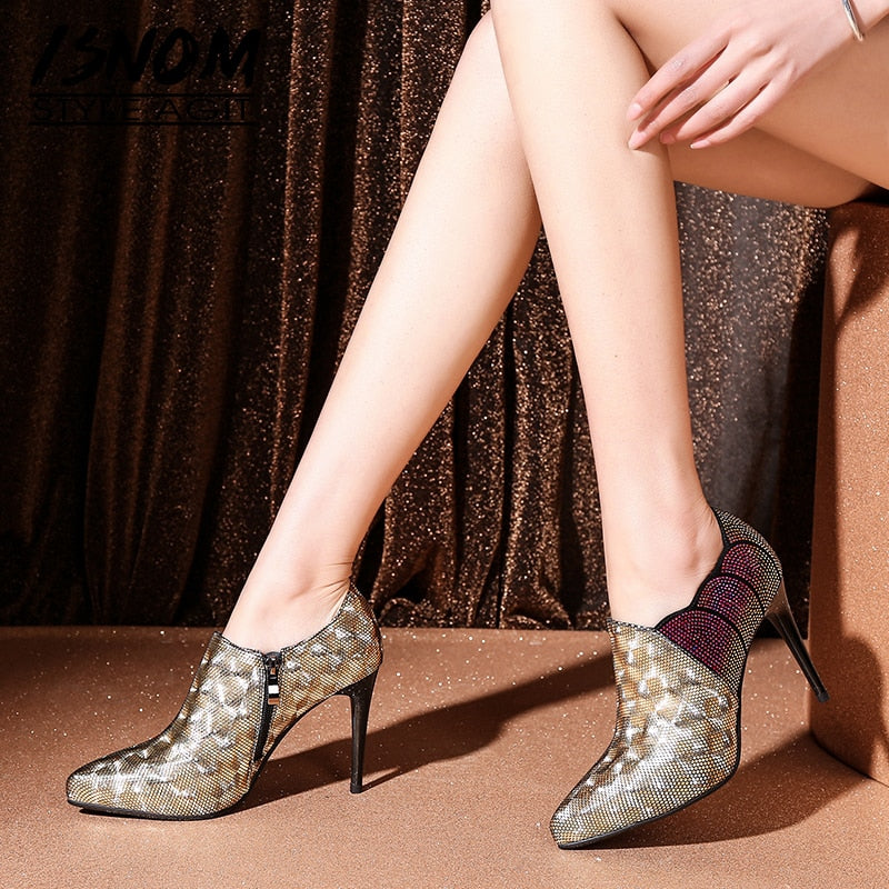 Crystal High Heels Spring Women Pumps Pointed Toe Leather Shoes Woman Zip Footwear Fashion Ladies Bling Shoes Bling