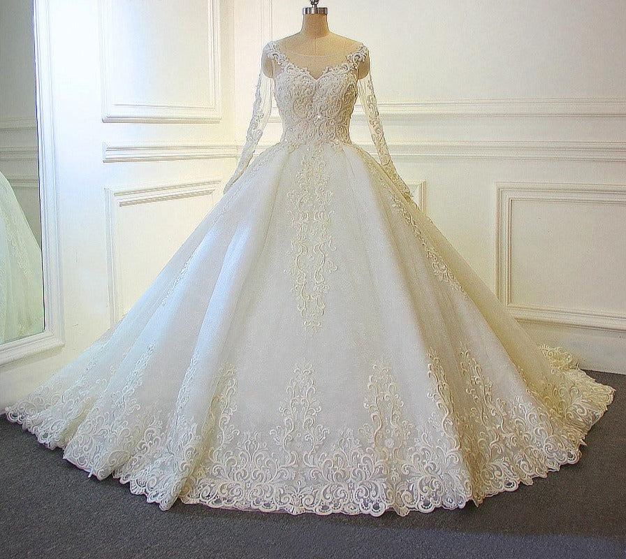 New Design Wedding Dress  Full Beading Luxury Lace Bridal Dress - LiveTrendsX