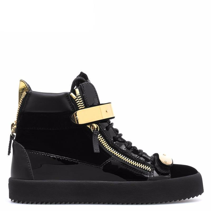 Black Patchwork Men Casual Shoes Lace Up Gold Metal Sneaker - LiveTrendsX