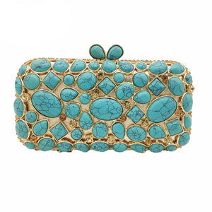Women Clutch Purse Evening Bag Clutches Luxury Blue Turquoise Agate Stone Crystal Minaudiere Bag Wedding Handbag - LiveTrendsX