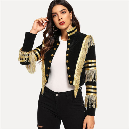 Lady Fringe Patched Metallic Double Breasted Stripe Black Gothic Jacket Women Autumn Stand Collar Cropped Jacket - LiveTrendsX