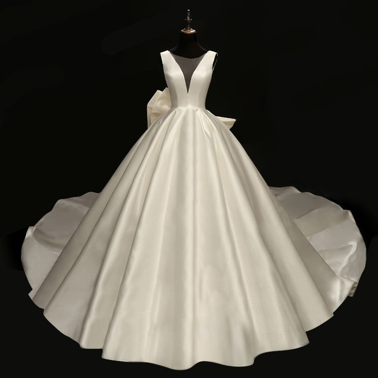 retro satin face oversize bow bridal ball gown sexy deep-v neck illusion mesh wedding reflective dress - LiveTrendsX
