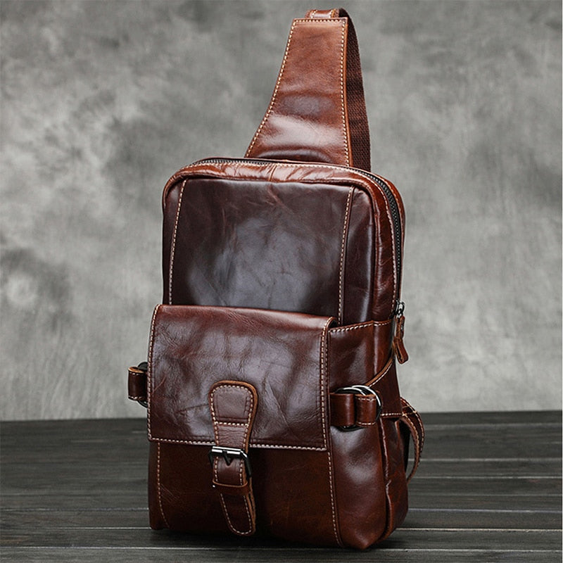Men Genuine Leather Large Capacity Sling Chest Back Pack Top Quality Messenger Shoulder Bags Oil Wax Cowhide Travel Day Pack - LiveTrendsX