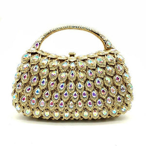 Gold Crystal AB Women Evening Clutch Bags Top-Handle Minaudiere Wedding Diamond Handbag Rhinestones Party Bag - LiveTrendsX