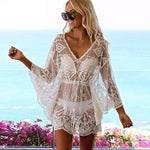 Sexy Lace Beach Wear Bikini Cover-Up Long Sleeves Beach Dresses Women Sheer Tunic Skirt Summer Dress Perspective Beach Cover Up - LiveTrendsX