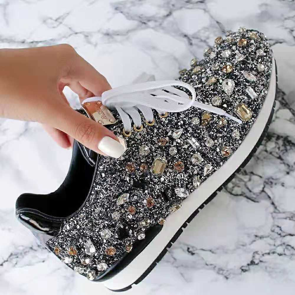 rhinestone flat shoes woman sneakers lace up shoes fashion crystal paillette casual shoes woman zapatos de mujer