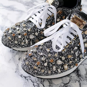 rhinestone flat shoes woman sneakers lace up shoes fashion crystal paillette casual shoes woman zapatos de mujer - LiveTrendsX