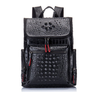 Genuine Leather Backpack Women Men for Laptop High Quality Travel Bag Casual Luxury Backpack Man Crocodile Leather Rucksack - LiveTrendsX