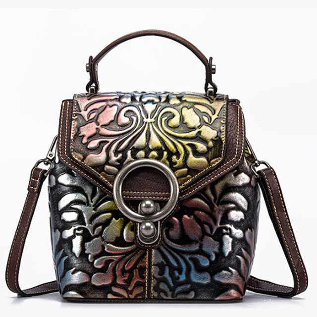 Vintage Women Genuine Leather Backpack Luxury Designer Embossed Small Daypack Ladies Cowhide Shoulder Crossbody Bags - LiveTrendsX