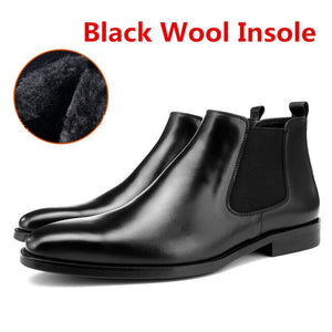 Warm Wool Insole Black / Tan Chelsea Boots Mens Ankle Boots Genuine Leather - LiveTrendsX