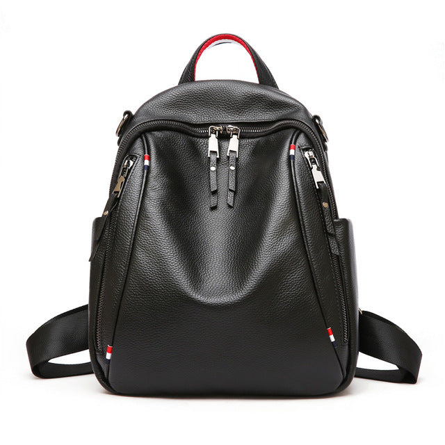 High Quality New Fashion Black Blue Red Genuine Leather Women Backpack For Girl Real Skin Female Shoulder Bags M0977 - LiveTrendsX