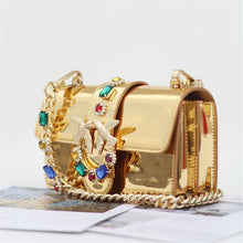 Load image into Gallery viewer, Gold Diamond Chain Strap Golden Glossy Genuine Leather Handbags Fancy Diamond Rivet Pearl Chain Shoulder Messenger Bag Louis Bag - LiveTrendsX