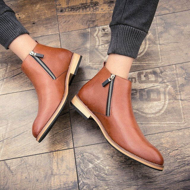 Ankle Round Toe Zip Men Chelsea Boots  Low Sewing Solid Vintage Motorcycle Boots  Leisure British Style Shoes - LiveTrendsX