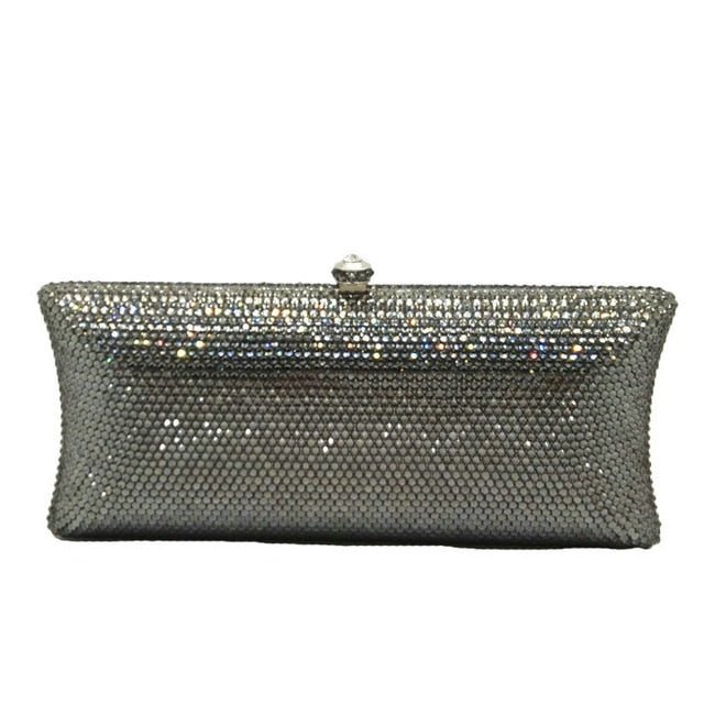 Champagne Peach Diamond Women Clutches Minaudiere Bag Wedding Cocktail Party Crystal Evening Purses Handbag - LiveTrendsX