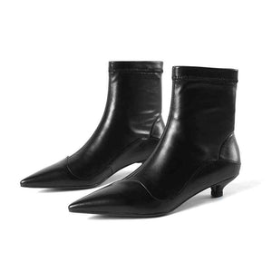 genuine leather strange heels beauty girl stretch boots women brand shoes European Chelsea design ankle boots - LiveTrendsX
