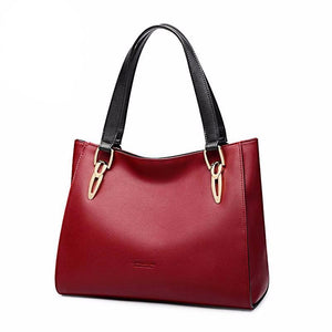 Fashion Cowhide Leather Women's Handbags Luxury Red Black Shoulder Bag Larger Capacity Women Leather Bag - LiveTrendsX